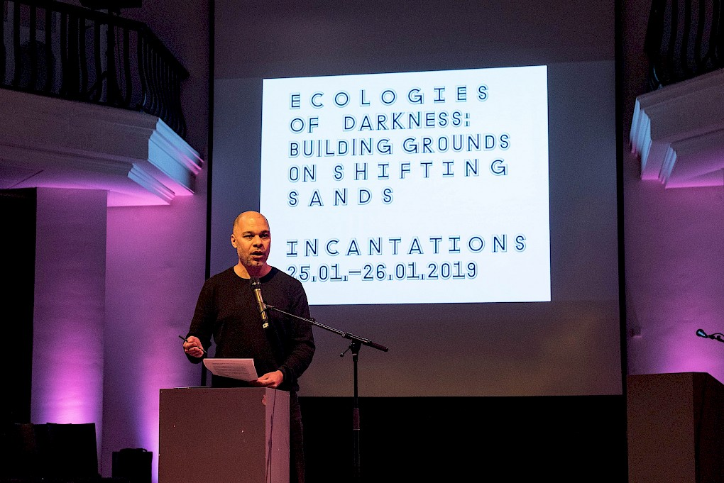 Incantations for Ecologies of Darkness: Talk by Olivier Marboeuf | Photo: Raisa Galofre